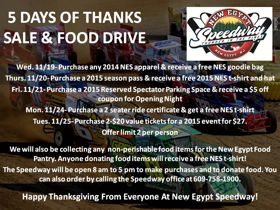 5 DAYS OF THANKS SALE & FOOD DRIVE